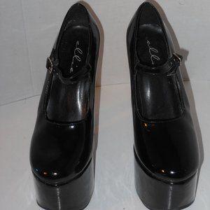 Ellie Black Patent Leather Platform High Heel Shoe
